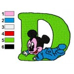 D Mickey Mouse Disney Baby Alphabet Embroidery Design