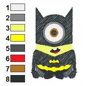 Despicable Me Batman Embroidery Design