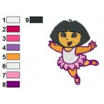 Dora Dancing Ballet Embroidery Design
