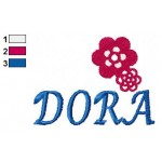 Dora Flowers Logo Embroidery Design 02