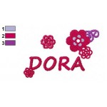 Dora Flowers Logo Embroidery Design