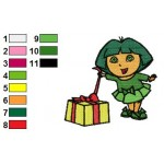 Dora and her Gift Embroidery Design