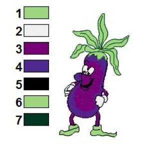 Free Eggplant Funny Veggies Embroidery Design