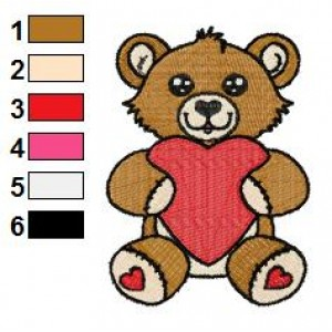 Free Valentine Heart Bear 02 Embroidery Design
