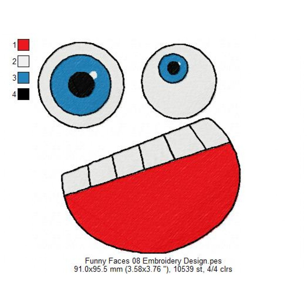 Funny faces embroidery design