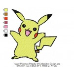 Happy Pokemon Pikachu 01 Embroidery Design