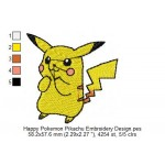 Happy Pokemon Pikachu Embroidery Design
