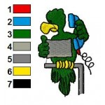 Josh the Parrot Embroidery Design 03