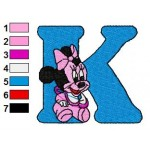 K Minnie Mouse Disney Baby Alphabet Embroidery Design