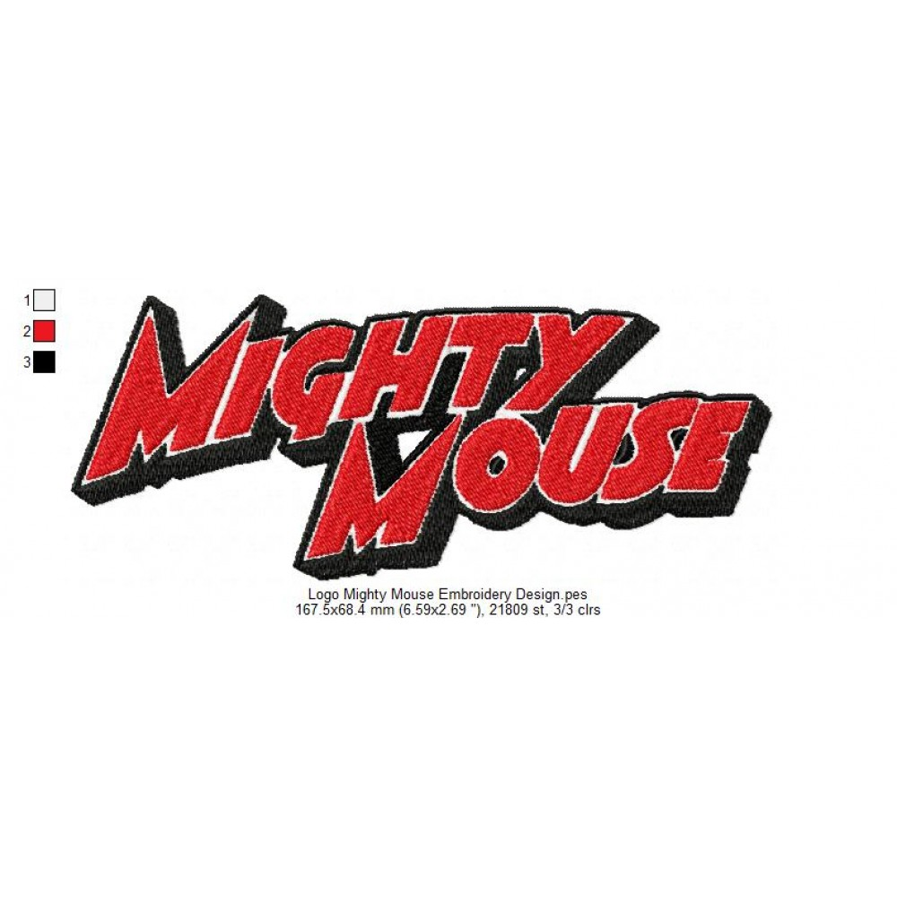 Logo Mighty Mouse Embroidery Design