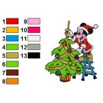 Mickey Mouse With Christmas Tree Embroidery Design