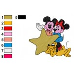Minnie Mickey Mouse and Pluto Embroidery Design