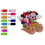 Minnie Mickey Mouse in Ski wagon Embroidery Design