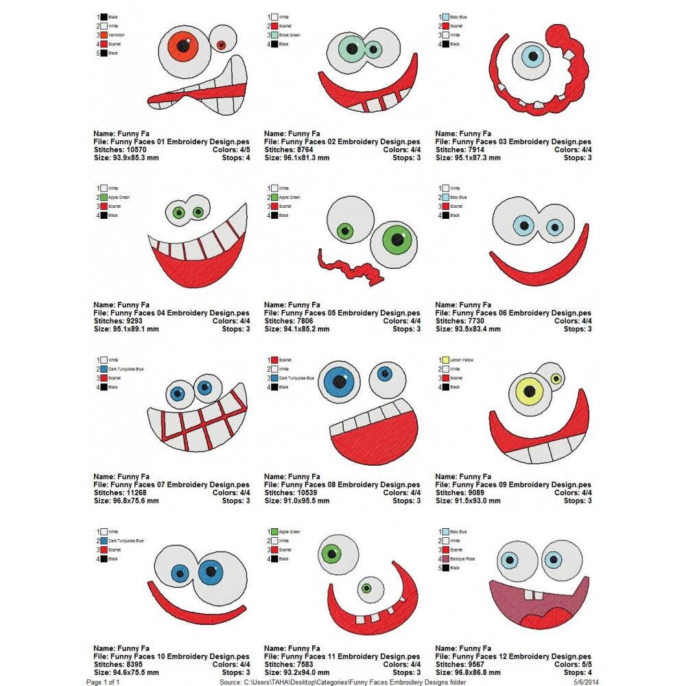 Package funny faces embroidery designs