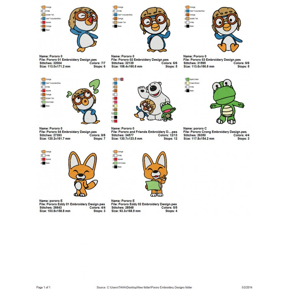 Package 8 Pororo Embroidery Designs