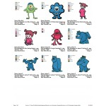 Package 9 Monsters inc 01 Embroidery Designs