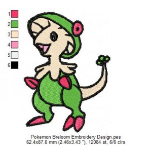 Pokemon Breloom Embroidery Design