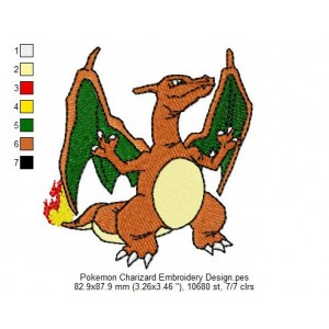 Pokemon Charizard Embroidery Design