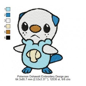 Pokemon Oshawott Embroidery Design
