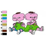 Rugrats Lil Deville and Phil Deville 01 Embroidery Design