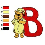 Winnie the Pooh Alphabet B Embroidery Design