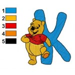 Winnie the Pooh Alphabet K Embroidery Design