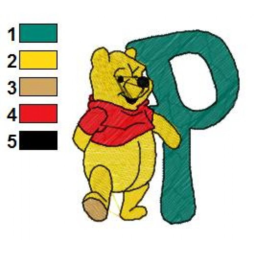 Winnie The Pooh Alphabet P Embroidery Design